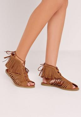Tassel Peep Toe Lace Up Flat Sandal Tan