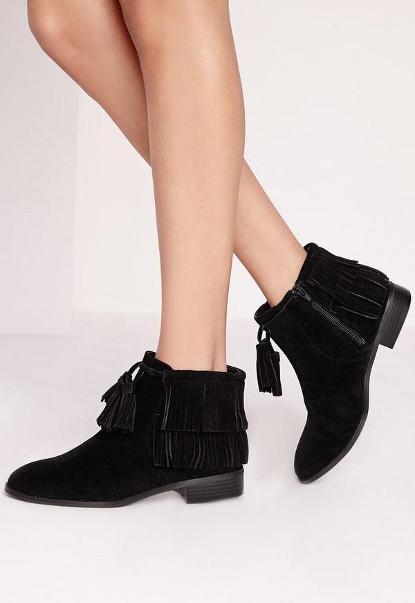 Tassel Trim Ankle Boots Black