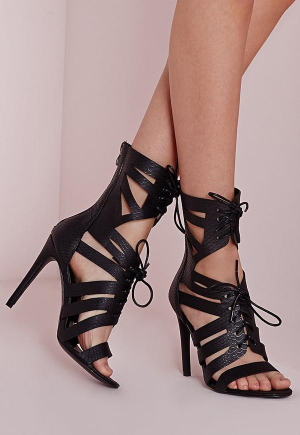Cut Out Heeled Gladiator Sandals Black