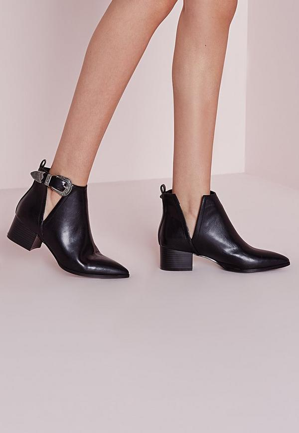 Pointed Toe Ankle Boots Black