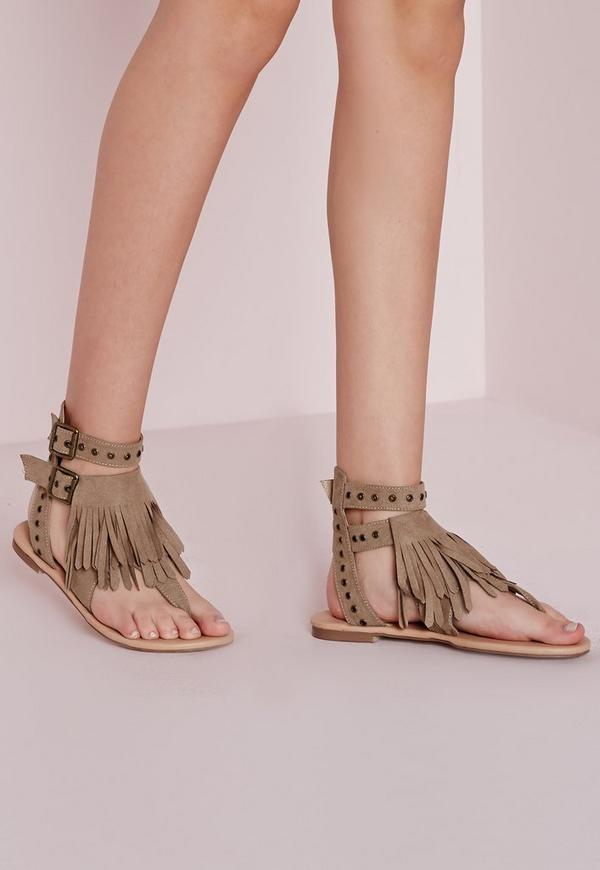 Eyelet Strap Flat Sandals Nude
