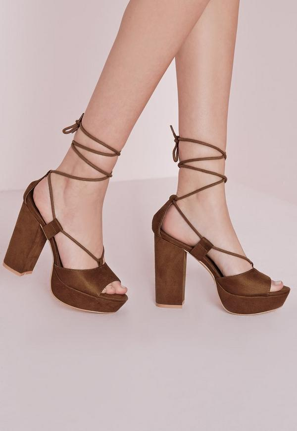 Lace Up Platform Tan