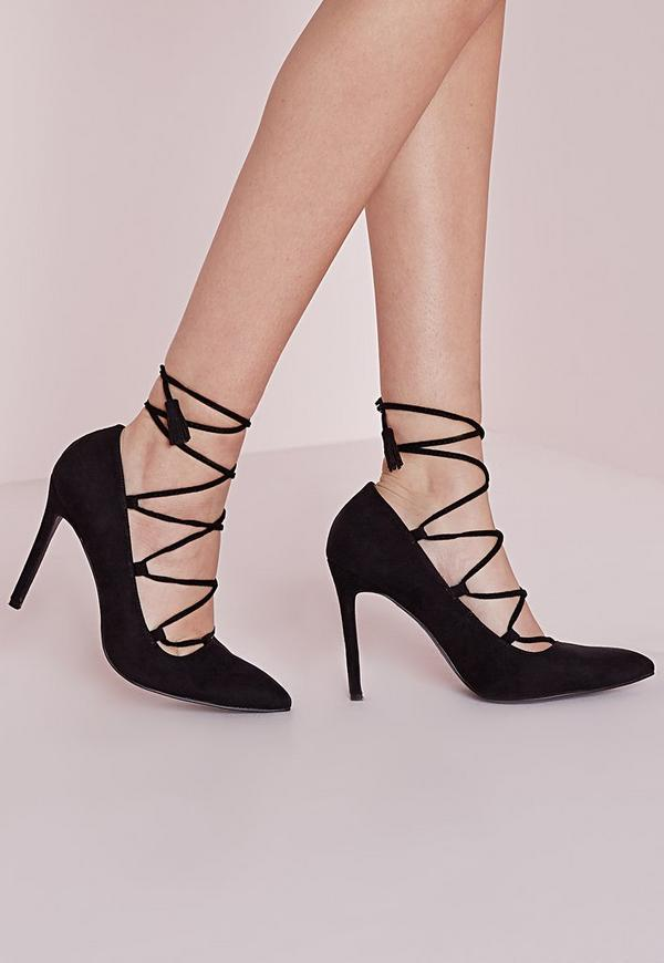 Lace Up Pointed Court Shoes Black