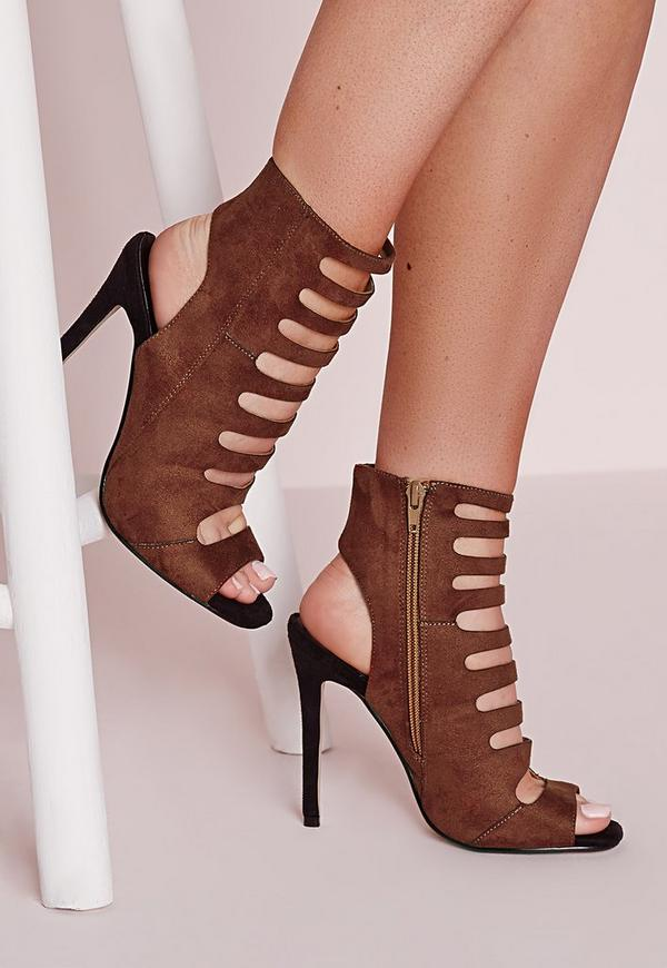 Cut Out Contrast Heeled Sandals Tan