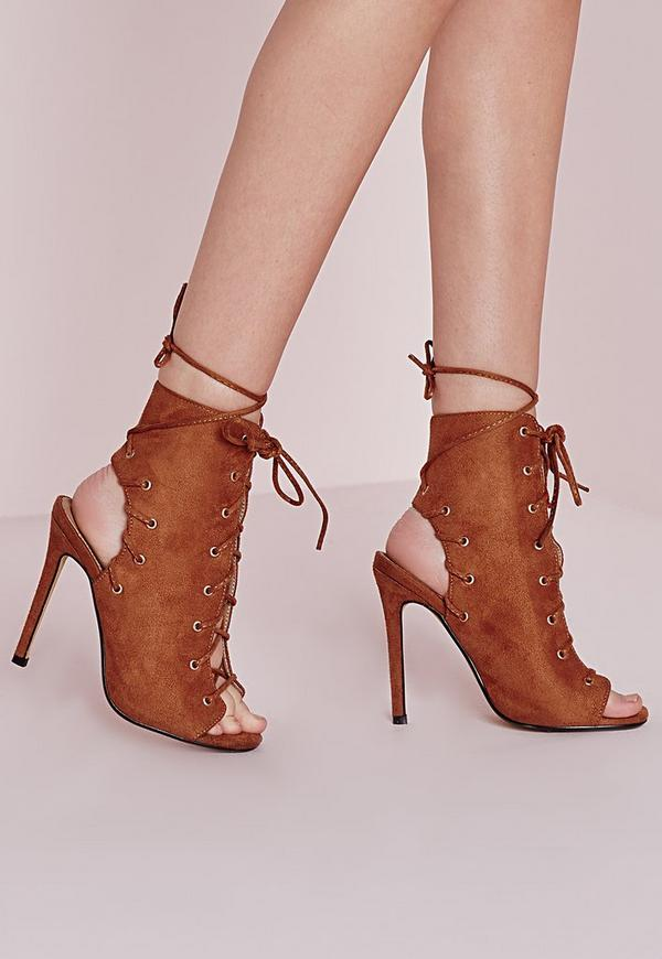 Lace Up Heeled Ankle Boots Tan