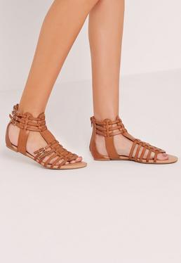Strappy Flat Gladiator Sandals Tan
