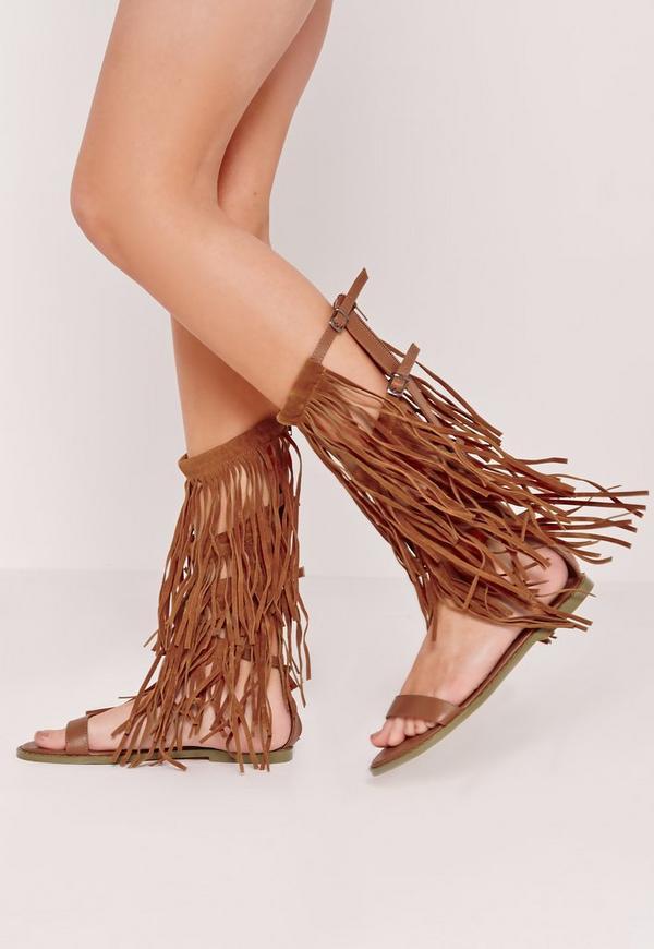 Fringe Detail Knee High Flat Gladiator Sandals Tan