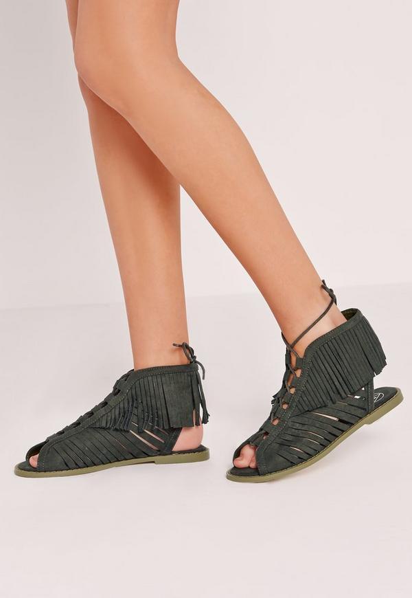 Tassel Peep Toe Lace Up Flat Sandal Khaki