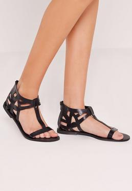 Laser Cut Detail T Bar Flat Sandal Black