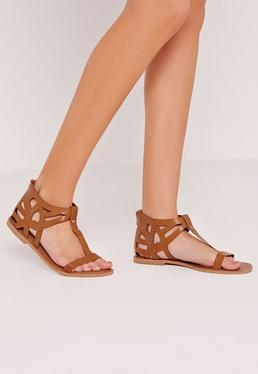 Laser Cut Detail T Bar Flat Sandal Tan