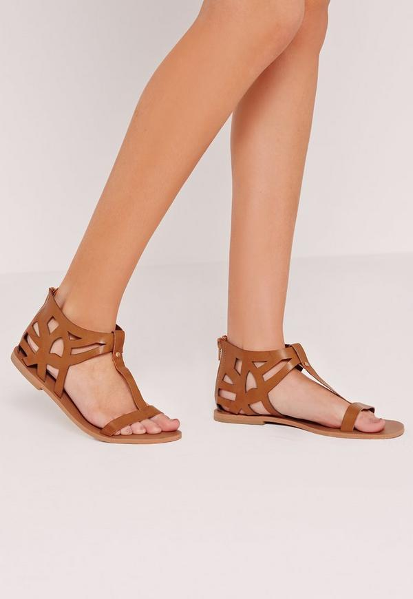 Laser Cut Detail T Bar Flat Sandal Tan