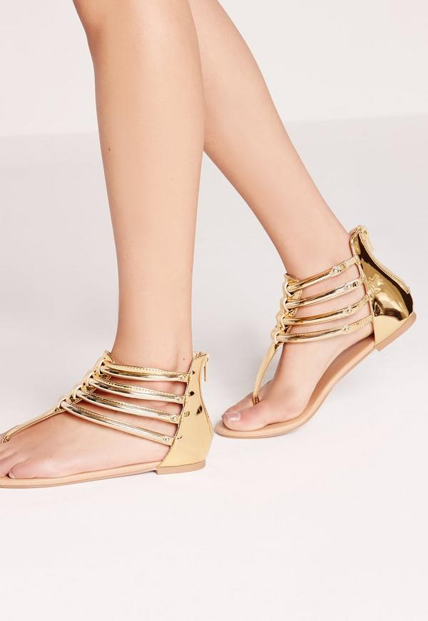 Gold Trim T Bar Flat Sandals Gold