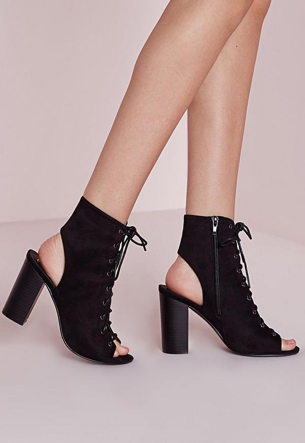 Lace Up Heeled Boots Black