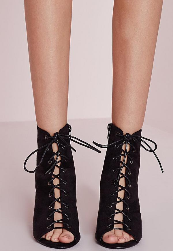 Lace Up Heeled Boots Black | Missguided