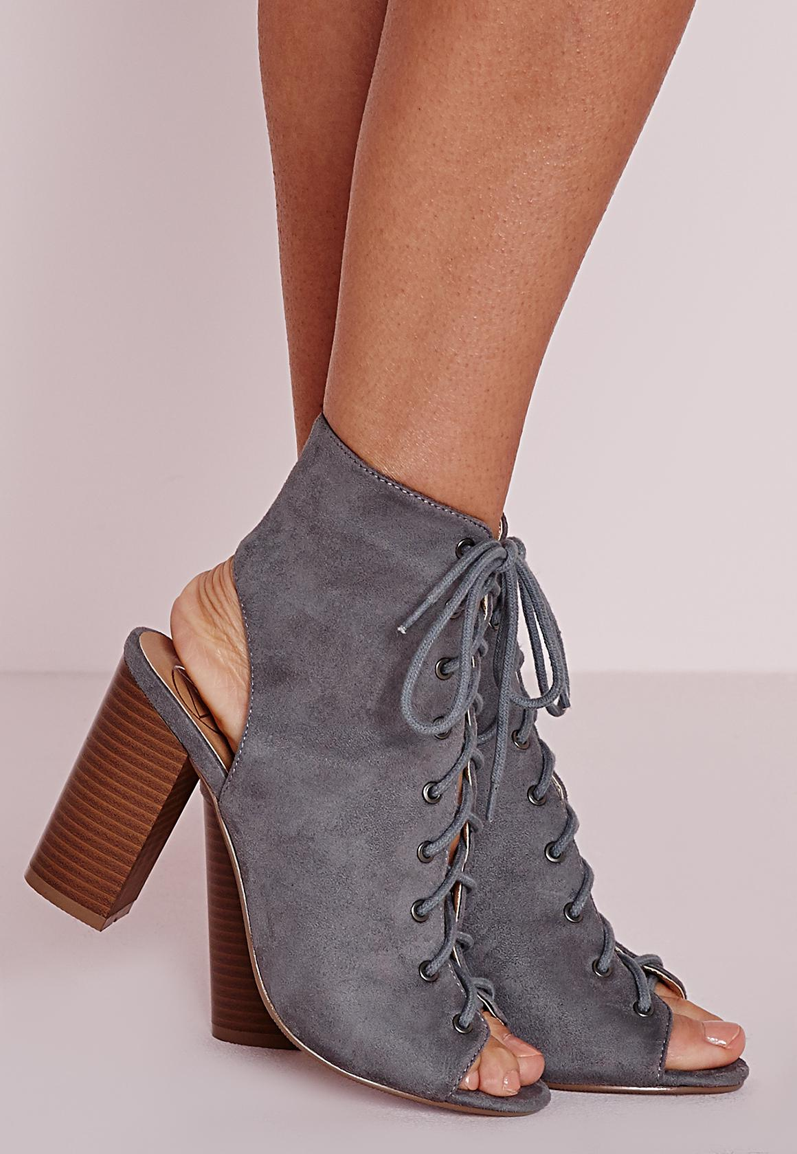 Lace Up Heeled Boots Grey | Missguided