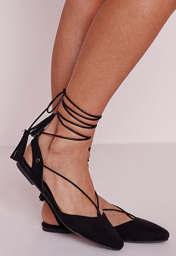 Lace Up Sling Back Flat Shoes Black