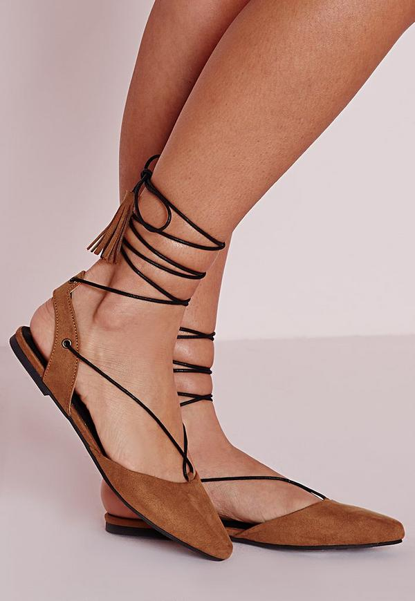 Lace Up Sling Back Flat Shoes Tan