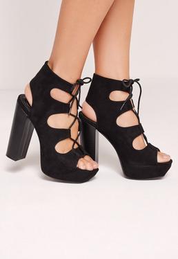 Lace Up 70's Platform Sandals Black