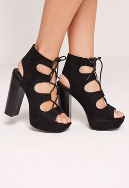 Sandales noires à plateforme façon 70's