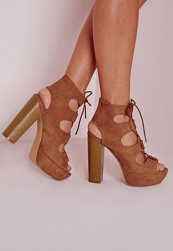 Lace Up 70's Platform Sandals Tan