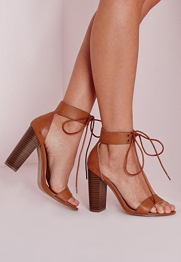 Block Heeled Barely There Sandals Tan
