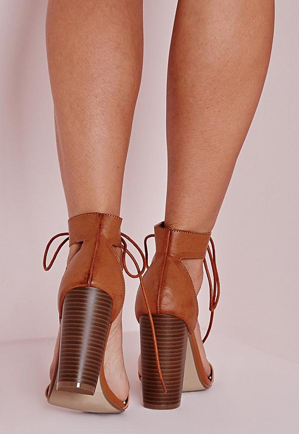 Block Heeled Barely There Sandals Tan Missguided