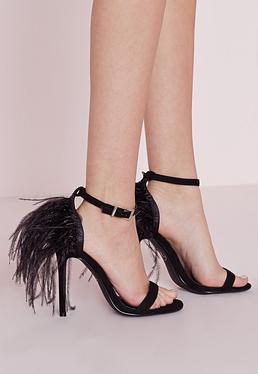 Feather Back Heeled Sandals Black