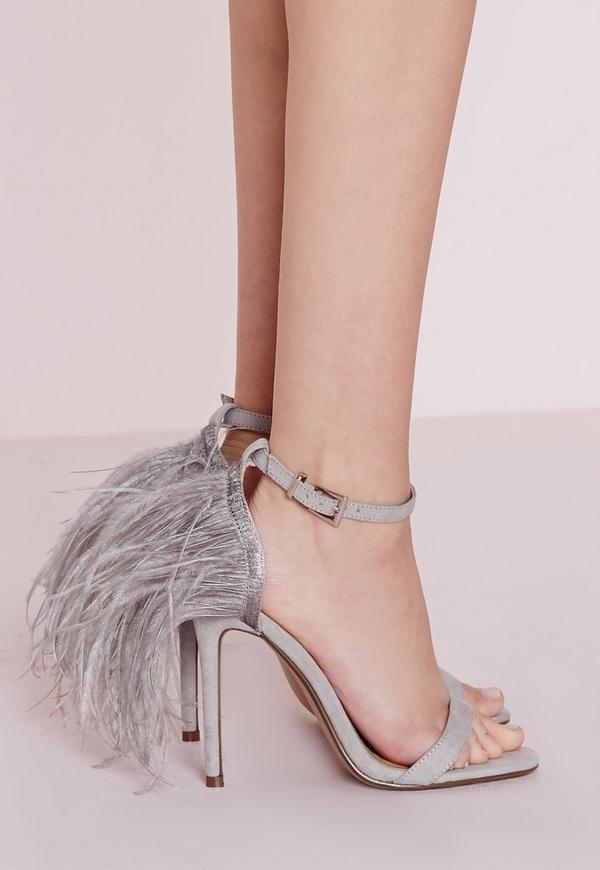 Feather Back Heeled Sandals Grey
