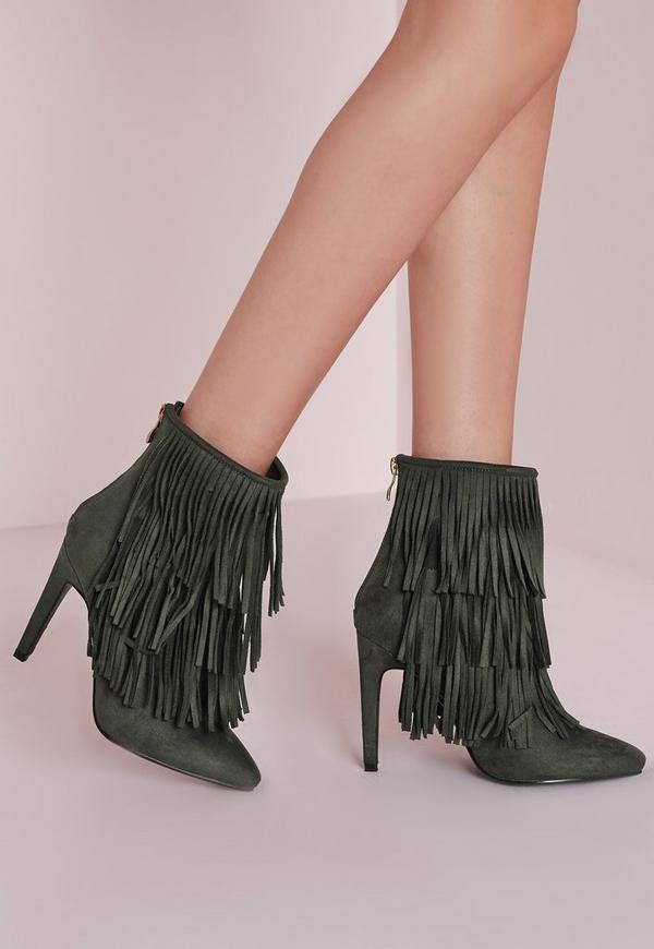 Fringed Trim Ankle Boots Khaki