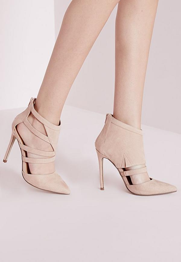 Geometric Cut Out Court Shoes Nude