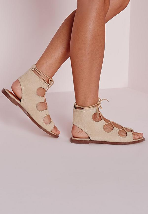 lace up flat gladiator sandals nude