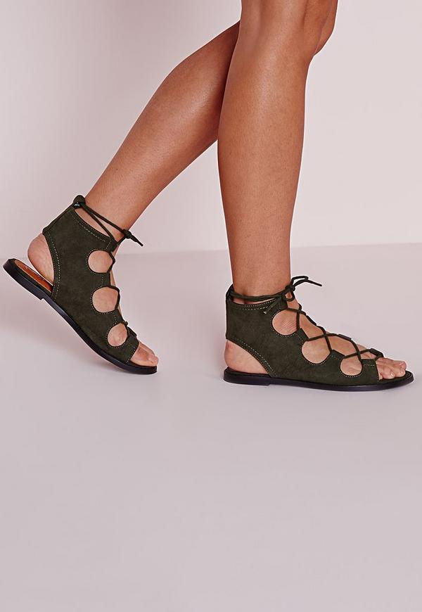 Lace Up Flat Gladiator Sandals Khaki