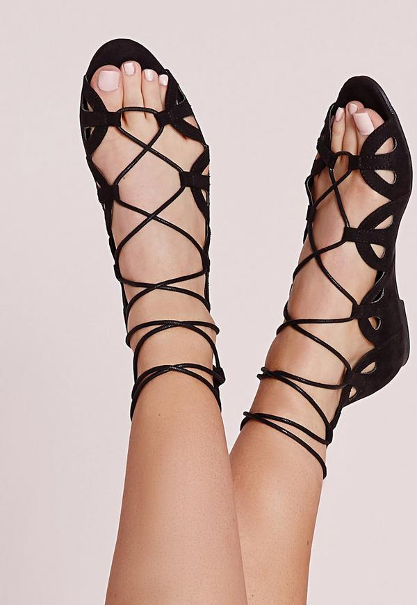 Open Toe Scalloped Lace Up Sandals Black