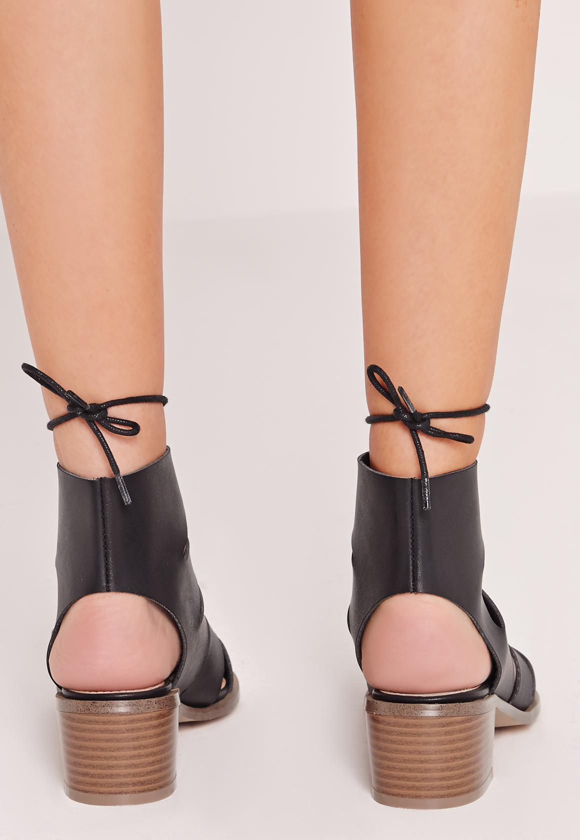 Black Block Heel Gladiator Sandals