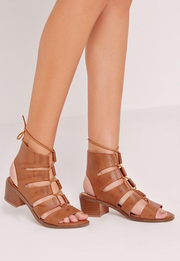 Block Heel Gladiator Tan