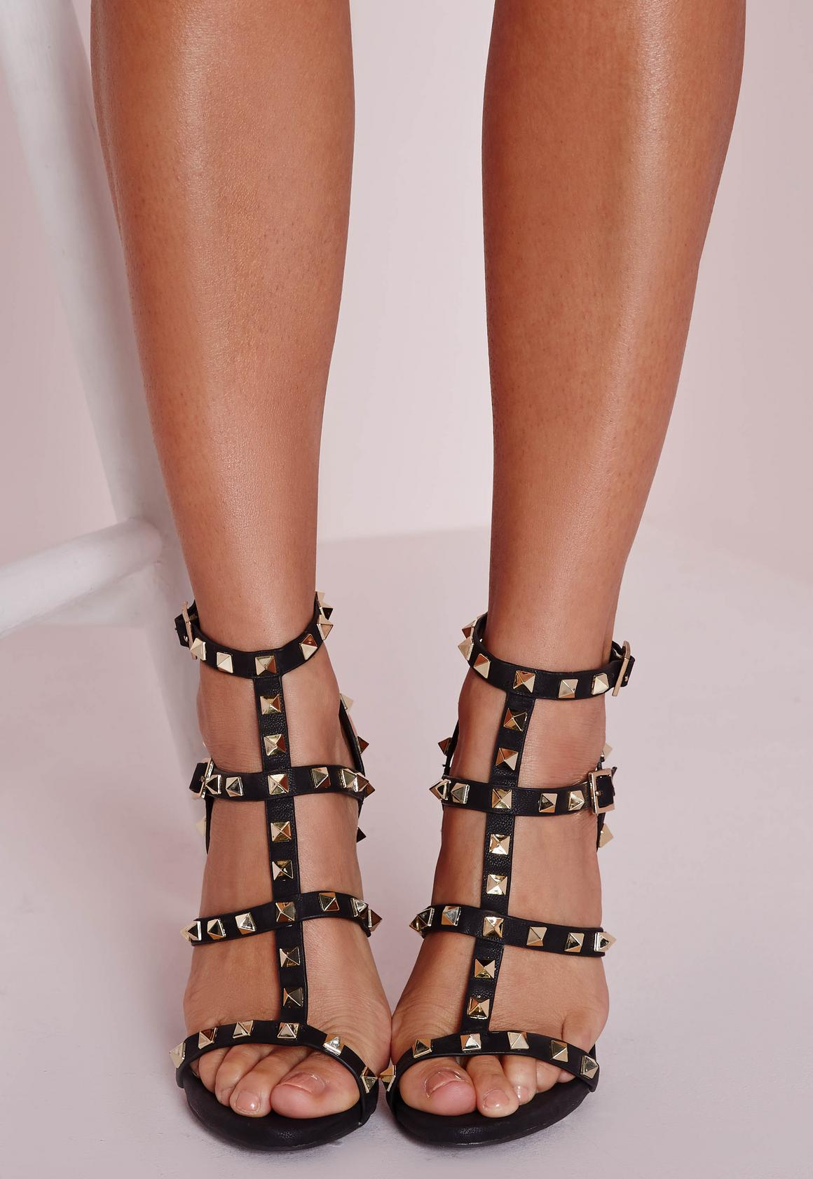 Studded Heeled Gladiator Sandals Black | Missguided