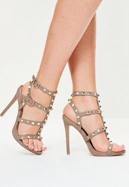 Studded Heeled Gladiator Sandals Taupe