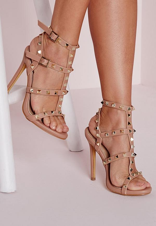 Studded Heeled Gladiator Sandals Blush | Missguided