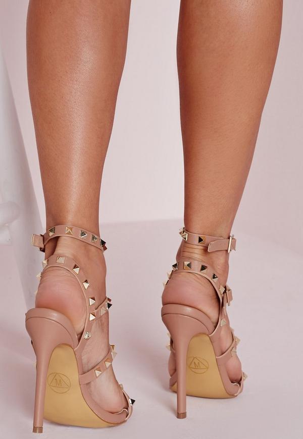 Studded Heeled Gladiator Sandals Blush Missguided