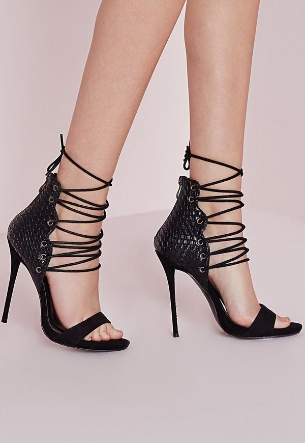 Woven Detail Barely There Heeled Sandals Black