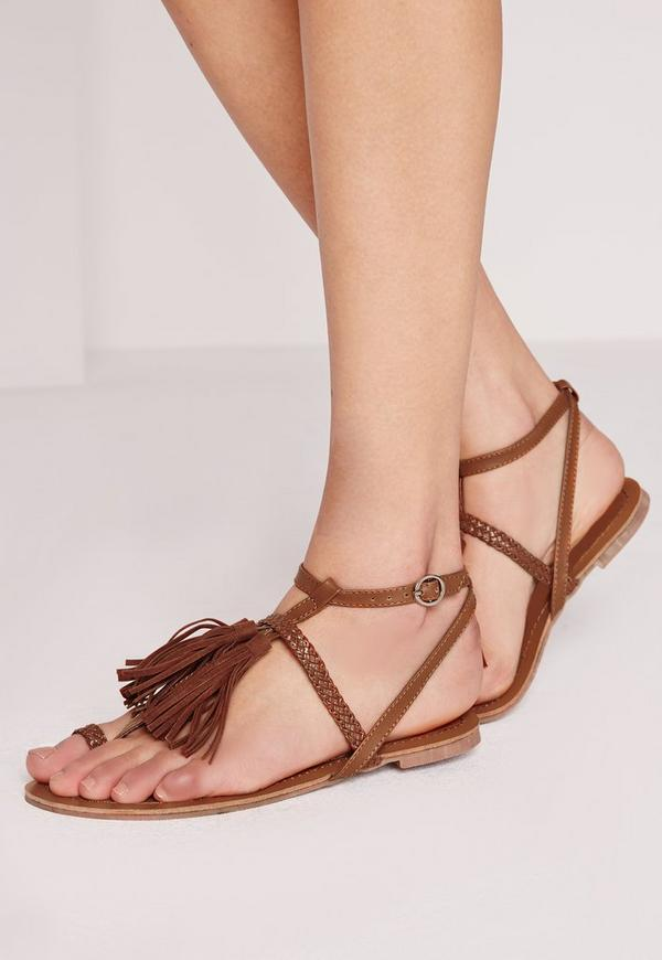 Tassel Front Plait Detail Sandal Tan