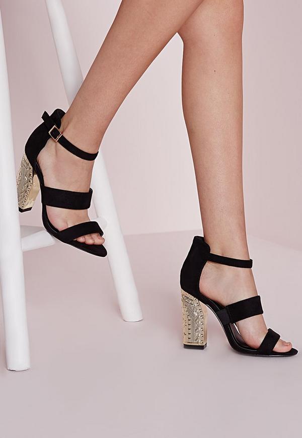 Embossed Block Heeled Sandals Black