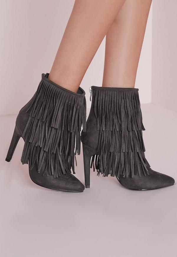 Fringed Trim Ankle Boots Grey