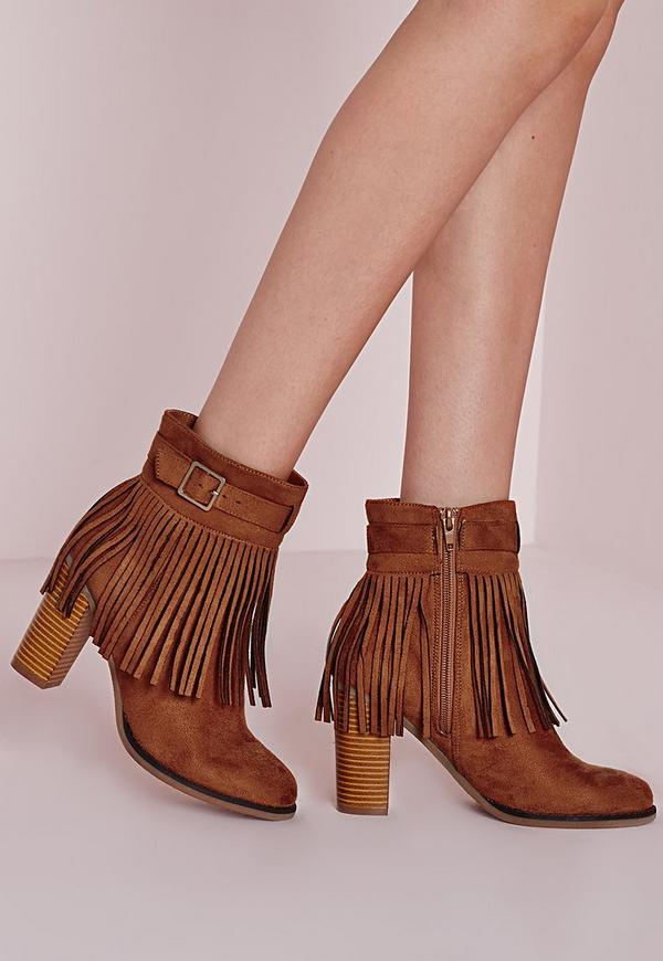 Fringed Trim Heeled Ankle Boots Tan