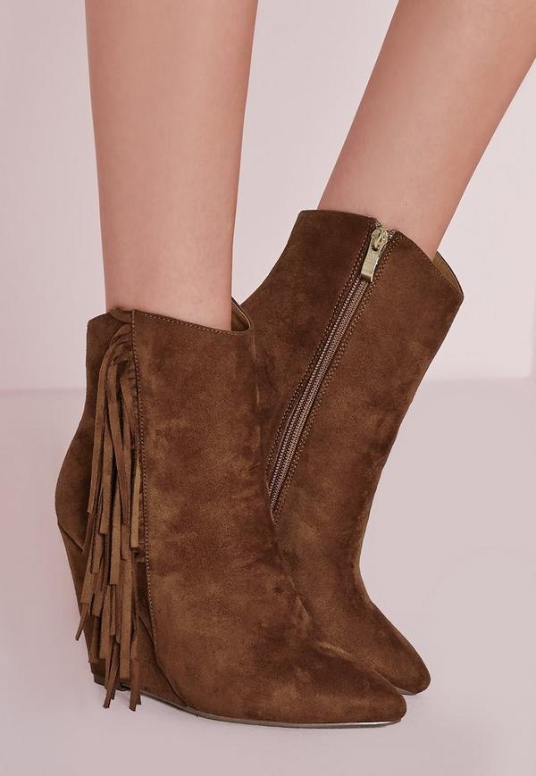 tassel side wedge boots missguided