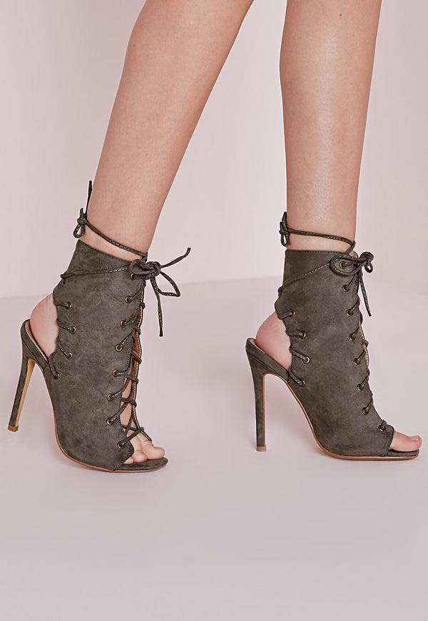 Lace Up Heeled Ankle Boots Khaki