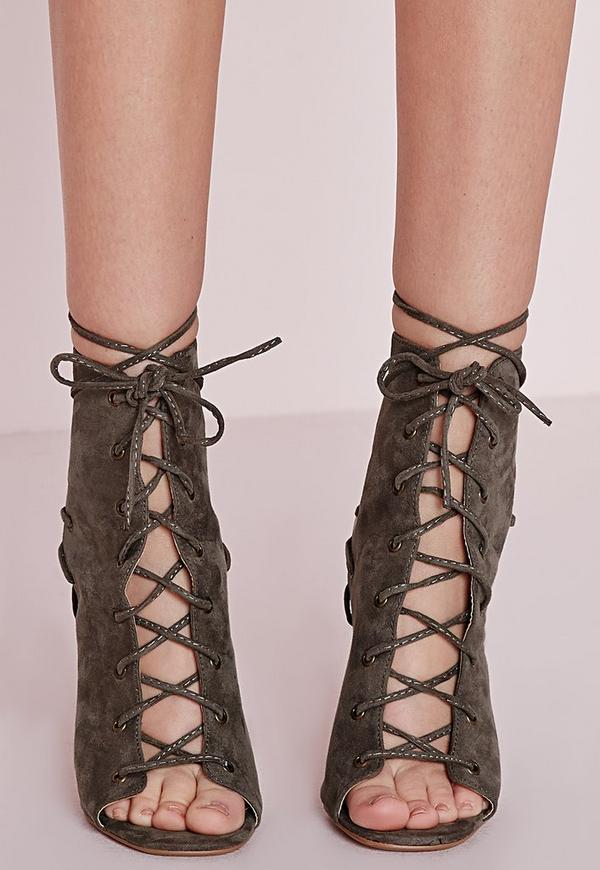 Lace Up Heeled Ankle Boots Khaki - Shoes - High Heels - Missguided