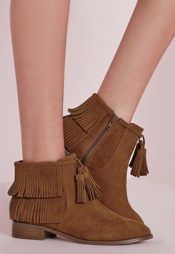 Tassel Trim Ankle Boots Tan