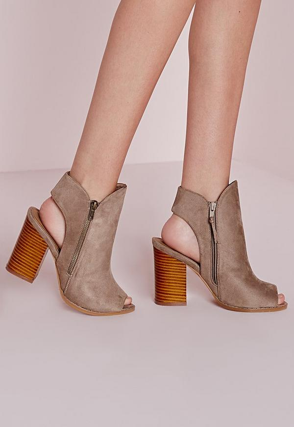 Peep Toe Cut Out Ankle Boots Taupe