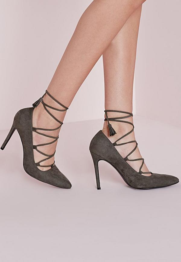 Lace Up Pointed Court Shoes Grey